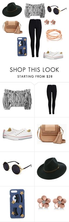 """Day Out"" by lilbil1 on Polyvore featuring Dolce&Gabbana, Converse, Kate Spade, Chiara Ferragni, Allurez, blackandwhite, jeans and rosegold"