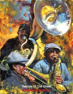 Sounds Of The Street by Nancie King Mertz Oil ~ 34 x 44