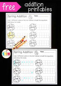 Spring Ten Frame Subtraction - Playdough To Plato Preschool Math, Math Classroom, Kindergarten Math, Teaching Math, Math Activities, Math Games, Ten Frame Activities, Spring Activities, 2 Kind