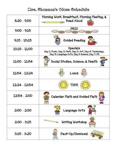 "I like how this schedule has a 15 minute block built in for PBIS! Also...""Specials"" - a different subject for each day - Art, Math or Science Days (in addition to regular blocks), Tech, Library, etc."