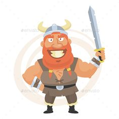 Viking Holds Sword and Smiles