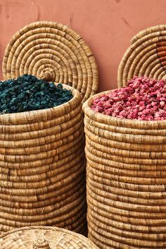 Moroccan colors in baskets