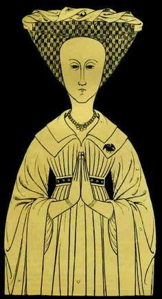 Detail from Monumental Brass, 1415  Joan Peryent Collar of underdress follows…