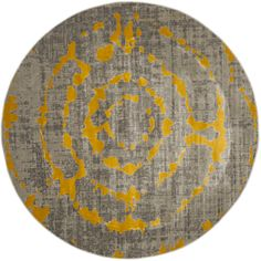 Safavieh Porcello Light Grey/ Yellow Rug (6'7 Round) | Overstock.com Shopping - The Best Deals on Round/Oval/Square