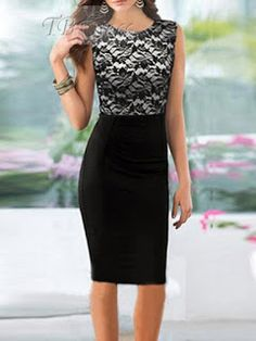 A list of women bodycon dresses online wait for you,shop the cheap bodycon dresses is a good wise in this summer,take your bodycon dress home now! Women's Dresses, Lace Party Dresses, Sleeveless Dresses, Fitted Midi Dress, Bodycon Dress, Black And Pink Dress, Pink Black, Knee Length Dresses, Pencil Dress