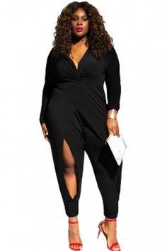 a5c52fb5c48 Black Twist Knot Slit Long Sleeve Plus Size Jumpsuit 1-3X  Unbranded   Jumpsuit