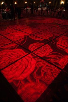Wedding Reception Red rose dance floor lighting - cool gobo or projection Red Rose Wedding, Gothic Wedding, Black Red Wedding, Black Weddings, Medieval Wedding, Spring Wedding, Dance Floor Lighting, Dance Floor Wedding, Valentines Day Weddings