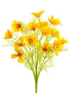 "Cosmos Silk Flower Bush in Golden Yellow - 22"" Tall"