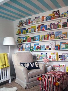 Book shelves very cool in a kids playroom or bedroom