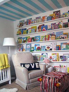 Book shelves very cool in a kids playroom or bedroom