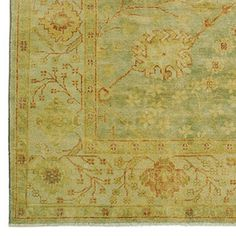 Green Meadows Oushak Rug #WilliamsSonoma - I love the antique feeling of this rug and the subtle pattern. Colors are definitely right-on for the room.