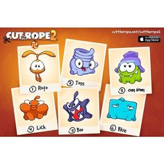 Which Cut the Rope 2 character is your favorite? Om Nom, Roto, Lick, Blue, Toss or Boo? http://rdrct.it/cuttherope2 #cuttherope2 #cuttherope #cuttherope2 #omnom #cute #green #little #monster #love #yummy #candy #sweets #playing #play #new #mobile #family #game #games #phone #fun #happy #funny #nommies #smile #nice #love #iphone #ipod #ipad #app #application #puzzle