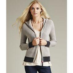 LABEL+thread Rib Hoodie ($148) ❤ liked on Polyvore featuring tops, hoodies, grey, sweaters, grey hoodies, zipper hoodie, long sleeve hoodie, hooded sweatshirt and zip hooded sweatshirt