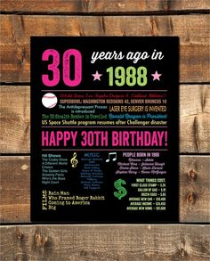 1989 Sign 30 Year Old Birthday 30th For Her Born In Gift INSTANT DOWNLOAD