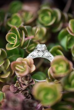 Heirloom engagement ring with filigree and side detail