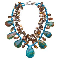 One of my favorite clothing color combinations- turquoise and brown.  Chinese opals, sleeping beauty turquoise and pearls necklace.