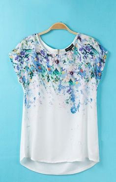 Flowers Printing High-low Hem Satin T-shirt