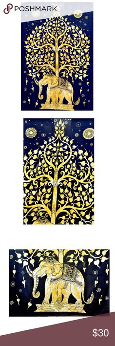 """Tree of Life Tapestry, Indian Elephant Tapestry PRODUCT SPECIFICATION:- DESIGN :- This handmade product is made of 100% cotton in spacious child free factories for your comfort. ITEMS :- 1 Sheet FABRIC :- 100% Cotton Fabric Handmade USAGE :- This gorgeous piece of art can be used as Bed Cover, Bed Spread, Table cloth,Curtain and as a tapestry or a wall hanging SIZE :- Sheet 85"""" x 92"""" Inches (approx) Color:- Mix CARE: Dry Cleaning Or normal hand wash in cold water Other"""