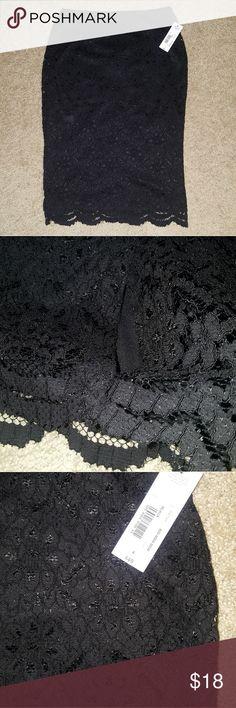 Lace skirt Black lace skirt. Elastic waist, scalloped bottom. Stretchy fabric. Tag says 4 but ot runs large. Slit back bottom. Zipper back and lined. Worthington Skirts Pencil