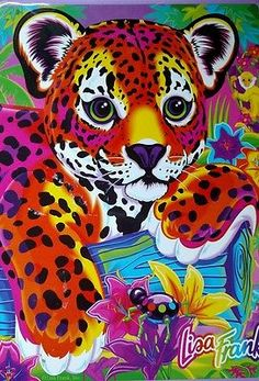 Vintage Lisa Frank Hunter Metal Tin Leopard Cub Collectible With Extra LF Items