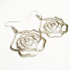 Rose Pendant Hoop Earrings / Silver Tone by VickysLittleSecrets