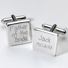 Engraved Father of the Bride Cufflinks  from Personalised Gifts Shop - ONLY £19.95