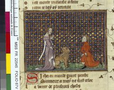 Français 22545, fol. 67v, Machaut, dame du verger et lion