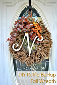 DIY Burlap Fall Wreath for under $5 with tutorial from Classy Clutter