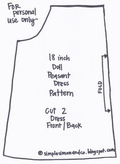 18 inch doll peasant dress pattern