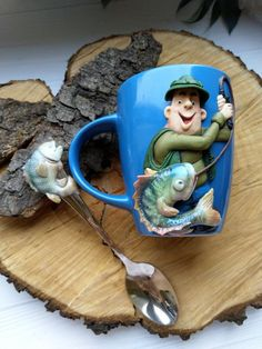 Fantastic Screen Polymer Clay Crafts cup Strategies Fisherman Gift Polymer clay Mug Cup Gift for Fisherman Crafts For Less, Cute Mug, Coffee Mug Display, Biscuit, Fisherman Gifts, Clay Mugs, Clay Faces, Polymer Clay Crafts, Clay Tutorials