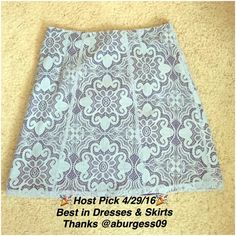 🎉HP- 4/29/16🎉 Cute SPRING blue skirt -NY&CO Size 8      Length: 20 inches (knee/above the knee)     Worn twice     Light blue lace overlay with a darker blue lining     Brand: NY&CO   Cute for the spring or any sunny day. Price is firm unless bundled 🛍. New York & Company Skirts A-Line or Full