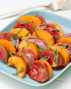 Heirloom Tomato and Peach Salad | a Couple Cooks