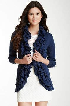 Romeo & Juliet Couture Open Ruffle Sweater  On #Hautelook now for $30. Regularly $164
