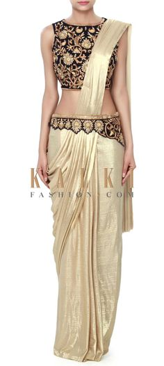 Buy Online from the link below. We ship worldwide (Free Shipping over US$100) Price- $439 Click Anywhere to Tag http://www.kalkifashion.com/gold-saree-gown-enhanced-in-pre-stitched-pallav-only-on-kalki.html