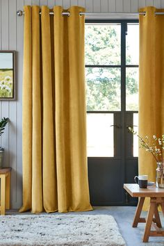 Buy Soft Velour Eyelet Lined Curtains from the Next UK online shop Yellow Curtains, Pleated Curtains, Colorful Curtains, Panel Curtains, Blackout Curtains, Curtains Uk, Curtains Living, Bedroom Curtains, Wooden Curtain Poles