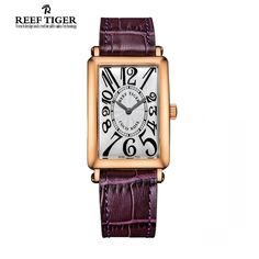 13618796c20 93.00  Buy here - http   ali63s.shopchina.info 1 go.php t 32330007436 -  2017 New Fashion Reef Tiger RT Watches Rose Gold Watch Rectangular Watches  Women ...