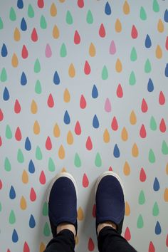 Raindrop multicoloured vinyl flooring