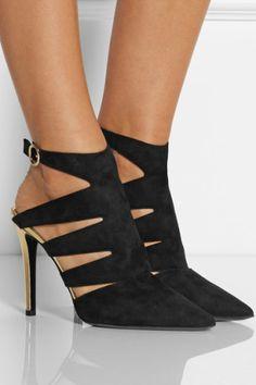 Diane von Furstenberg|Bizzy cutout suede mulesi /want those shoesssss