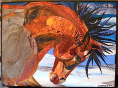 Ice Storm - horse in paper collage