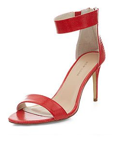 Red Snakeskin Textured Ankle Strap Zip Back Heels  | New Look