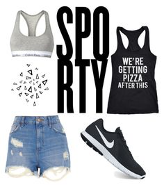 """""""sporty"""" by janemit on Polyvore featuring River Island, NIKE, Calvin Klein, Crazy Dog and Nika"""
