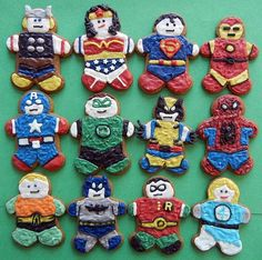 I don't care how old I am - I want a super hero themed party every year that includes cookies like these.