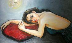 FULL MOON ON THE PILLOW, oil on canvas 100x120cm. by artist Daniel de Quelyu. Surabaya - Indonesia