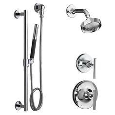 Kohler Purist Complete Pressure Balanced Shower Package with Hand Shower, Slide Rail, Diverter, and Valves