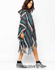 Image 1 ofReclaimed Vintage Oversized Hooded Festival Poncho Coat