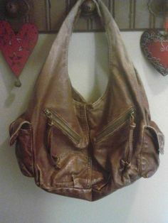 Bueno Purse Bag Distressed Hobo Brown Leather