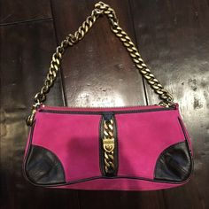 Juicy Couture bag Sooo pretty!  Perfect condition.  Pink suede with black leather and heavy gold chain handle.  Very good quality, one of the originals! Juicy Couture Bags Mini Bags