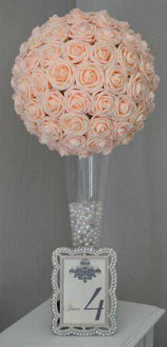 PINK BLUSH Flower Ball wedding pomanders kissing by KimeeKouture