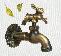 Brass Running Rabbit Faucet - Easter Garden Decorations