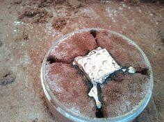 Casted silver cufflink / Gegoten zilveren manchetknoop
